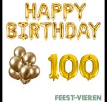 100 jaar Verjaardag Versiering Ballon Pakket Goud