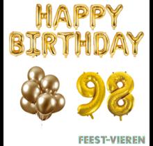 98 jaar Verjaardag Versiering Ballon Pakket Goud