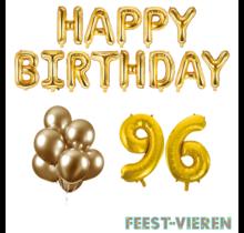 96 jaar Verjaardag Versiering Ballon Pakket Goud