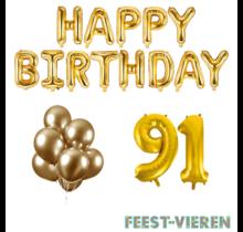91 jaar Verjaardag Versiering Ballon Pakket Goud