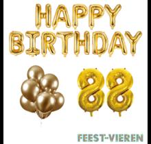 88 jaar Verjaardag Versiering Ballon Pakket Goud