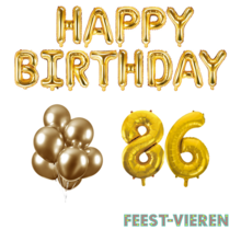 86 jaar Verjaardag Versiering Ballon Pakket Goud