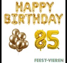 85 jaar Verjaardag Versiering Ballon Pakket Goud