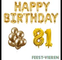81 jaar Verjaardag Versiering Ballon Pakket Goud