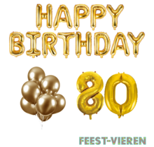 80 jaar Verjaardag Versiering Ballon Pakket Goud