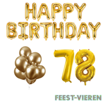 78 jaar Verjaardag Versiering Ballon Pakket Goud