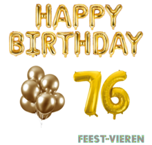 76 jaar Verjaardag Versiering Ballon Pakket Goud