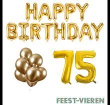 75 jaar Verjaardag Versiering Ballon Pakket Goud