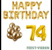 74 jaar Verjaardag Versiering Ballon Pakket Goud