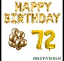 72 jaar Verjaardag Versiering Ballon Pakket Goud