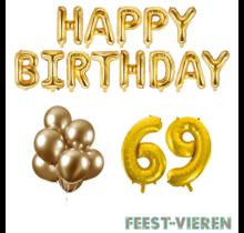 69 jaar Verjaardag Versiering Ballon Pakket Goud