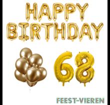 68 jaar Verjaardag Versiering Ballon Pakket Goud