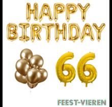 66 jaar Verjaardag Versiering Ballon Pakket Goud