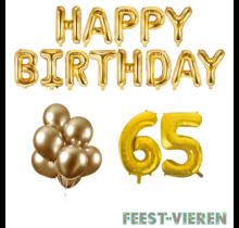 65 jaar Verjaardag Versiering Ballon Pakket Goud