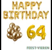 64 jaar Verjaardag Versiering Ballon Pakket Goud