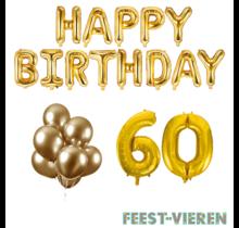 60 jaar Verjaardag Versiering Ballon Pakket Goud