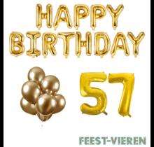 57 jaar Verjaardag Versiering Ballon Pakket Goud