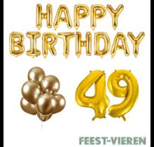 49 jaar Verjaardag Versiering Ballon Pakket Goud