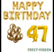 47 jaar Verjaardag Versiering Ballon Pakket Goud