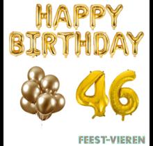 46 jaar Verjaardag Versiering Ballon Pakket Goud