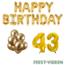 Feest-vieren 43 jaar Verjaardag Versiering Ballon Pakket Goud