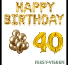 40 jaar Verjaardag Versiering Ballon Pakket Goud
