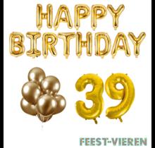 39 jaar Verjaardag Versiering Ballon Pakket Goud