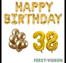 38 jaar Verjaardag Versiering Ballon Pakket Goud