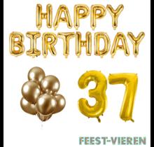 37 jaar Verjaardag Versiering Ballon Pakket Goud