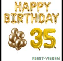 35 jaar Verjaardag Versiering Ballon Pakket Goud