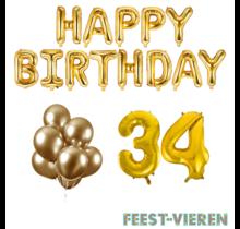 34 jaar Verjaardag Versiering Ballon Pakket Goud