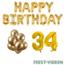 Feest-vieren 34 jaar Verjaardag Versiering Ballon Pakket Goud