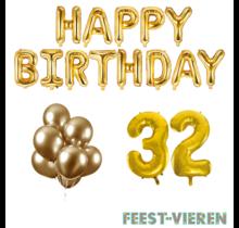 32 jaar Verjaardag Versiering Ballon Pakket Goud