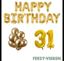 31 jaar Verjaardag Versiering Ballon Pakket Goud