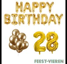 28 jaar Verjaardag Versiering Ballon Pakket Goud