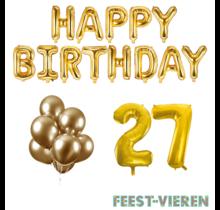 27 jaar Verjaardag Versiering Ballon Pakket Goud