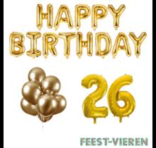 26 jaar Verjaardag Versiering Ballon Pakket Goud