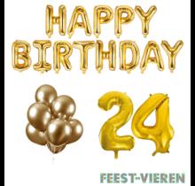24 jaar Verjaardag Versiering Ballon Pakket Goud