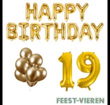 19 jaar Verjaardag Versiering Ballon Pakket Goud