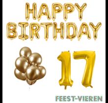 17 jaar Verjaardag Versiering Ballon Pakket Goud