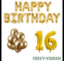 16 jaar Verjaardag Versiering Ballon Pakket Goud