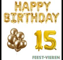 15 jaar Verjaardag Versiering Ballon Pakket Goud