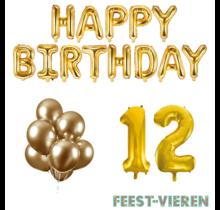 12 jaar Verjaardag Versiering Ballon Pakket Goud