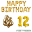 Feest-vieren 12 jaar Verjaardag Versiering Ballon Pakket Goud