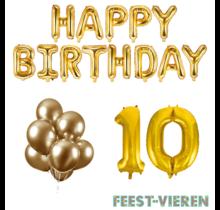 10 jaar Verjaardag Versiering Ballon Pakket Goud