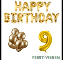 9 jaar Verjaardag Versiering Ballon Pakket Goud