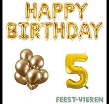 5 jaar Verjaardag Versiering Ballon Pakket Goud