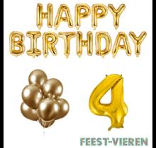 4 jaar Verjaardag Versiering Ballon Pakket Goud