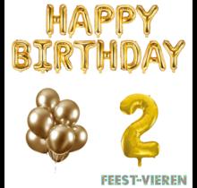 2 jaar Verjaardag Versiering Ballon Pakket Goud