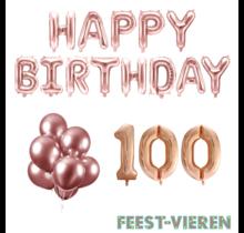 100 jaar Verjaardag Versiering Ballon Pakket rosé goud